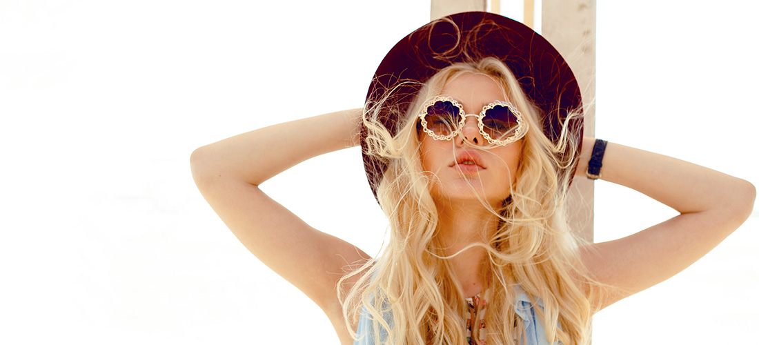 Blonde Woman With Sunglasses And Hat